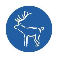 icône de style bloc animal renne
