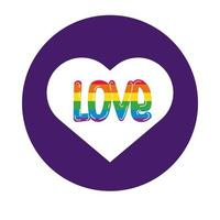 coeur avec style de bloc de fierté gay mot d'amour