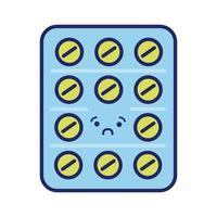 pilules sceau médicaments style de ligne kawaii