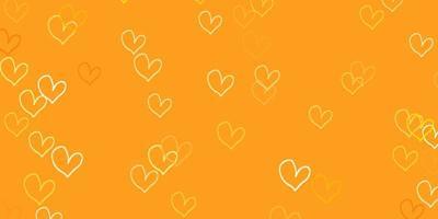 fond de vecteur orange clair avec des coeurs brillants.