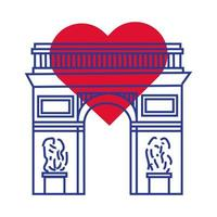 arc de triomphe france monument main dessiner icône de style