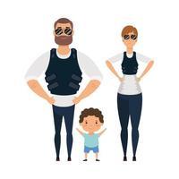 mère père et fils avec conception vectorielle de vestes pare-balles