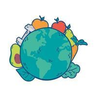 planète terre avec des icônes de santé