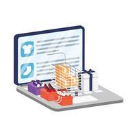 commerce électronique en ligne sur ordinateur portable avec achat de chaussures