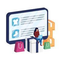 commerce électronique en ligne sur ordinateur de bureau avec femme et sacs à provisions