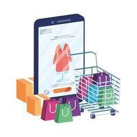 commerce électronique en ligne avec smartphone et panier