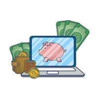 commerce électronique en ligne sur ordinateur portable avec de l'argent et des économies