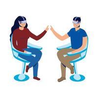 jeune couple, utilisation, réalité virtuelle, technologie, dans chaise
