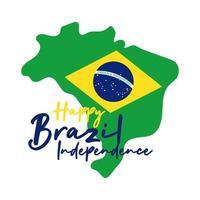 joyeux jour de l'indépendance carte du brésil avec drapeau dans le style plat de carte
