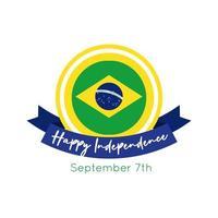 joyeux jour de l'indépendance carte du brésil avec style plat cadre drapeau et ruban
