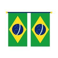 drapeaux du Brésil suspendus icône de style plat