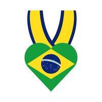 drapeau du brésil en icône de style plat médaille coeur