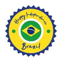 joyeux jour de l'indépendance carte du brésil avec style plat de joint de drapeau