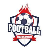 icône de football avec bouclier et balle en feu