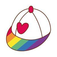 coeur sur casquette avec des couleurs de fierté gay