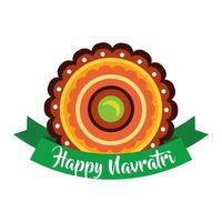 joyeuse fête navratri avec style plat décoratif et ruban