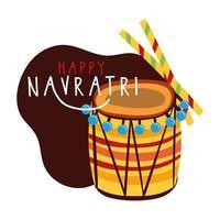 joyeuse fête de navratri avec instrument à tambour et style plat