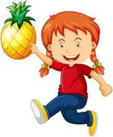 Une jolie fille tenant le personnage de dessin animé d'ananas isolé sur fond blanc