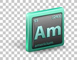 élément chimique américium. symbole chimique avec numéro atomique et masse atomique.