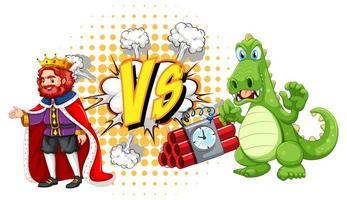 dragon et roi se battant sur fond blanc vecteur