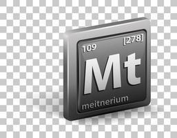 élément chimique de meitnerium. symbole chimique avec numéro atomique et masse atomique. vecteur