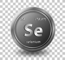 élément chimique sélénium. symbole chimique avec numéro atomique et masse atomique. vecteur