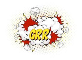 Grr texte sur l'explosion de nuage comique isolé sur fond blanc vecteur