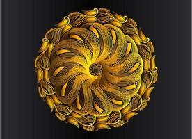 conception de mandala arabesque ornementale, florale et abstraite dorée