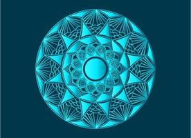 conception de mandala arabesque ornementale bleue, florale et abstraite vecteur