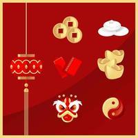 autocollant emblématique du nouvel an chinois vecteur