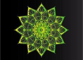 conception de mandala arabesque ornementale, florale et abstraite verte