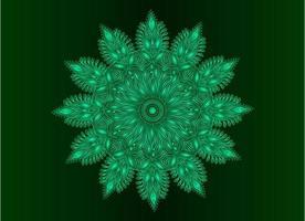 conception de mandala arabesque ornementale, florale et abstraite verte vecteur