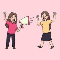 personnes en colère rassemblant protestation illustration de dessin animé mignon