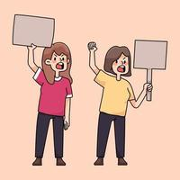 personnes en colère rassemblant protestation illustration de dessin animé mignon vecteur