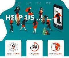 les hommes sont aidés par leur smartphone. les gens sont attirés et rejoignent. peut être pour la finance d'entreprise, l'assurance, la publicité, le service, la page de destination, le modèle, l'interface utilisateur, le web, l'application mobile, l'affiche, l'illustration vectorielle vecteur