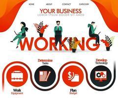 les gens travaillent sur le mot travail. peut utiliser pour, page de destination, modèle, interface utilisateur, web, application mobile, affiche, bannière, flyer, illustration vectorielle, promotion en ligne, marketing Internet, finance, commerce vecteur