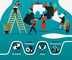 les gens pratiquent le travail d'équipe, le leadership en organisant des puzzles. peut utiliser pour, page de destination, modèle, interface utilisateur, web, application mobile, affiche, bannière, flyer, illustration vectorielle, promotion en ligne, marketing vecteur