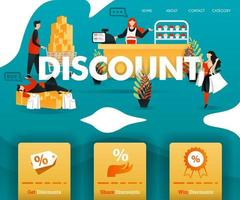 les gens achètent avec bonheur avec une grande remise. pour la boutique en ligne, le commerce électronique, la promotion, la vente au détail, le marketing, les affaires en ligne sur Internet. peut utiliser pour, page de destination, modèle, interface utilisateur, web, application mobile, affiche, bannière vecteur