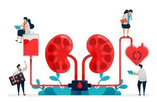 les médecins effectuent la dialyse, le traitement médical de l'insuffisance rénale, les hôpitaux et les cliniques, la purification et le nettoyage du sang. illustration pour carte de visite, bannière, brochure, flyer, annonces vecteur