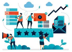 5 étoiles pour le meilleur contenu sur les réseaux sociaux. choisissez le contenu avec la note la plus élevée. donner des commentaires pour le contenu numérique, la vidéo, l'article. personnage de dessin animé plat pour page de destination, site Web, mobile, flyer, affiche