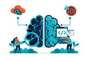 codage pour créer un programme d'intelligence artificielle. à la recherche d'un bug dans un robot cérébral artificiel. technologie intelligente sur l'intelligence artificielle. Internet des objets. carte de visite, bannière, brochure, dépliant vecteur