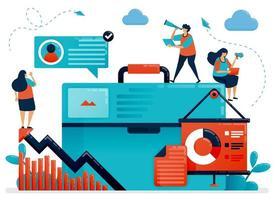 illustrations commerciales de bannière pour la planification de présentations. stratégie pour augmenter la croissance des entreprises. à la recherche d'idées en affaires. personnage de dessin animé plat pour page de destination, site Web, mobile, flyer, affiche vecteur