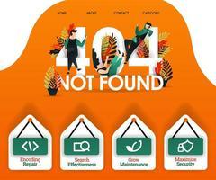 404 introuvable avec des personnes recherchant des erreurs et des problèmes. peut utiliser pour, page de destination, web, application mobile, affiche, bannière, flyer, illustration vectorielle, promotion en ligne, marketing internet, finance, commerce vecteur