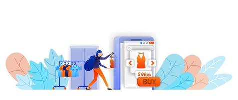 les vendeurs de boutique en ligne affichent des vêtements sur le commerce électronique mobile. les achats sont plus faciles avec une boutique en ligne. concept d'illustration vectorielle pour page de destination, web, interface utilisateur, bannière, flyer, affiche, modèle, arrière-plan vecteur