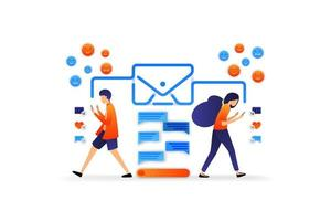 communication moderne avec la technologie. application de chat avec enveloppe. dialogue avec les médias sociaux. concept d'illustration vectorielle pour, page de destination, web, interface utilisateur, bannière, flyer, affiche, modèle, arrière-plan vecteur