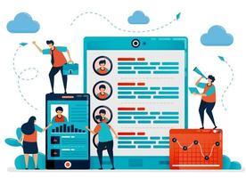 embauche et recrutement numériques en utilisant le mobile pour choisir les employés. profil et données du candidat à l'emploi. offres d'emploi et postulez en ligne. illustration vectorielle pour carte de visite, bannière, brochure, dépliant vecteur