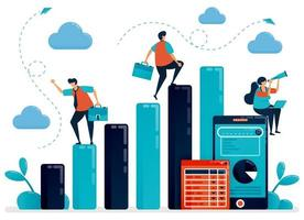concept d'analyse et de planification des données. salaire homme vérifier les statistiques de graphique à barres pour le rapport annuel. rapport de données mobiles avec graphique et tableau. illustration humaine vectorielle plane pour page de destination, site Web, mobile vecteur