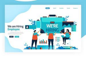 page de destination de nous embauchons des employés. offres d'emploi ouvertes pour les demandeurs d'emploi. agences de recrutement ouvertes, entretien d'embauche. sélection et analyse des connaissances, des compétences, des capacités. site Web, applications mobiles, affiche. vecteur