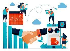 collaboration pour obtenir un retour sur les bénéfices et les opportunités. histogramme et diagramme. graphique financier mobile. analyse commerciale. illustration humaine vectorielle plane pour page de destination, site Web, mobile, affiche vecteur
