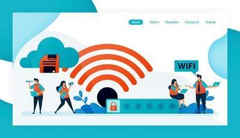 page de destination et site Web pour connexion et protection wifi, accès Internet avec wifi, sécurité pare-feu wifi avec mot de passe, accès et connexion sécurisés. conception de vecteur flyer affiche des annonces d'applications mobiles
